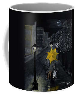 Lady With Yellow Umbrella And White Dog Coffee Mug by Dick Bourgault