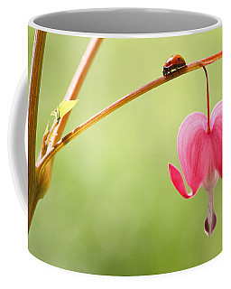 Ladybug And Bleeding Heart Flower Coffee Mug
