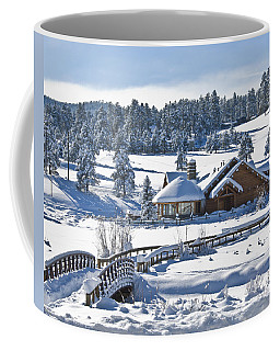 Lake House In Snow Coffee Mug by Ron White