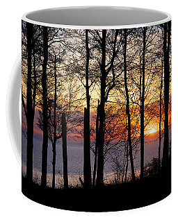 Lake Michigan Sunset With Silhouetted Trees Coffee Mug