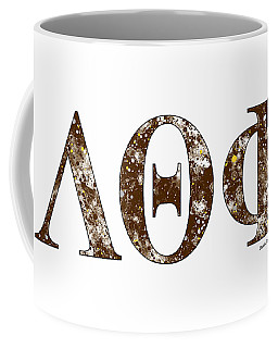 Coffee Mug featuring the digital art Lambda Theta Phi - White by Stephen Younts