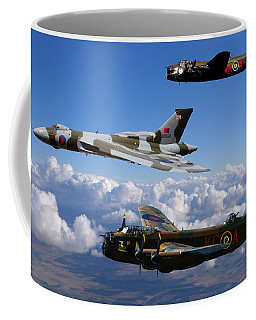 Lancaster Bombers And Vulcan Xh558 Coffee Mug by Ken Brannen