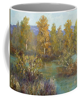 Landscape River And Trees Paintings Coffee Mug