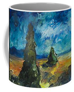 Coffee Mug featuring the painting Emerald Spires by Yulia Kazansky