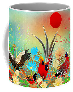 Landscapes With Birds And Red Sun - Limited Edition Of 15 Coffee Mug