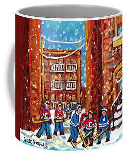Laneway Hockey Game Montreal Paintings Winter Fun In The City Carole Spandau Coffee Mug