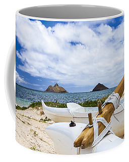 Coffee Mug featuring the photograph Lanikai Outrigger 1 by Leigh Anne Meeks