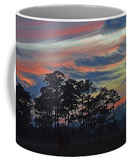 Coffee Mug featuring the photograph Late Sunset Trees In The Mist by Bill Swartwout