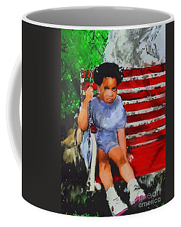 Coffee Mug featuring the painting Lauren On The Swing by Vannetta Ferguson