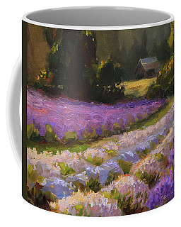 Lavender Farm Landscape Painting - Barn And Field At Sunset Impressionism  Coffee Mug
