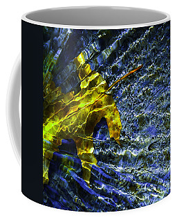 Leaf In Creek - Blue Abstract Coffee Mug