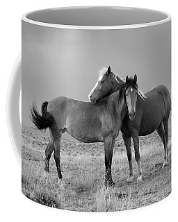 Lean On Me B And W Wild Mustang Coffee Mug