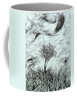 Coffee Mug featuring the drawing Lean On Me by Anna  Duyunova