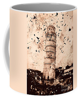 Leaning Tower Of Pisa Sepia Coffee Mug
