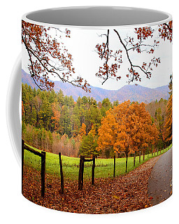 Coffee Mug featuring the photograph Leaves A'fallin by Geraldine DeBoer