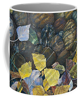 Leaves  Water And Rocks Coffee Mug