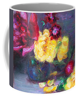 Coffee Mug featuring the painting Lemon And Magenta - Flowers And Radish by Talya Johnson