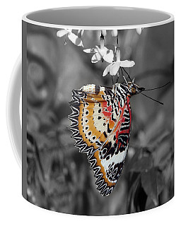 Coffee Mug featuring the photograph Leopard Lacewing Butterfly Dthu619bw by Gerry Gantt