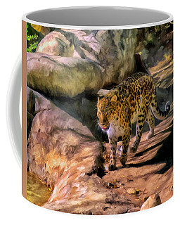 Coffee Mug featuring the painting Leopard by Michael Pickett
