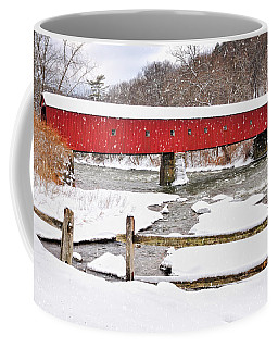 Connecticut Covered Bridge Snow Scene By Thomasschoeller.photography  Coffee Mug