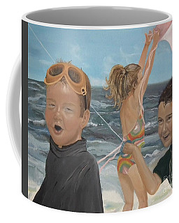 Beach - Children Playing - Kite Coffee Mug