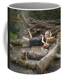 Levitating Housewife - Cutting Firewood Coffee Mug