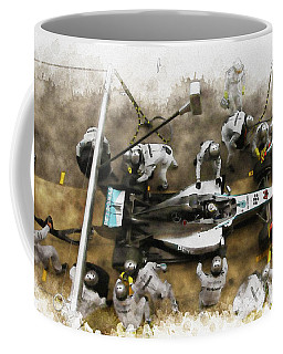 Lewis Hamilton Of Britain Service The Car At Pit Stop Coffee Mug
