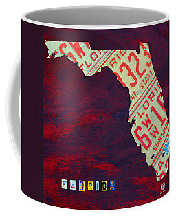License Plate Map Of Florida By Design Turnpike Coffee Mug