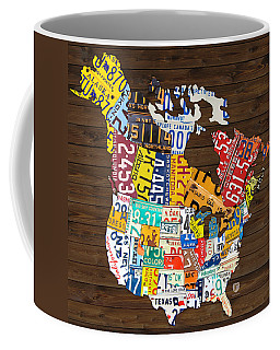 License Plate Map Of North America - Canada And United States Coffee Mug