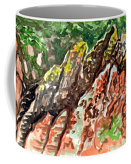 Coffee Mug featuring the painting Lichen Rocks by Ashley Kujan