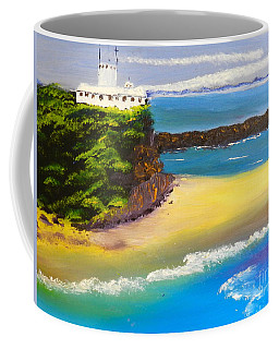 Coffee Mug featuring the painting Lighthouse At Nobbys Beach Newcastle Australia by Pamela  Meredith