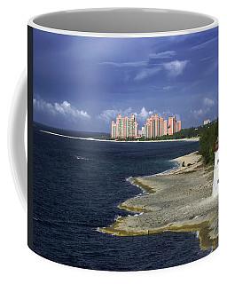 Lighthouse On Colonial Beach With Atlantis Paradise Resort Bahamas Coffee Mug