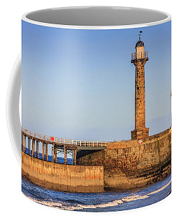 Coffee Mug featuring the photograph Lighthouses On The Piers by Susan Leonard