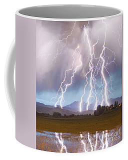 Lightning Striking Longs Peak Foothills 4c Coffee Mug
