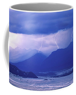 Lightning Striking Over The Grand Teton Coffee Mug
