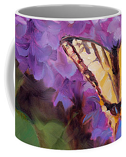 Lilacs And Swallowtail Butterfly Purple Flowers Garden Decor Painting  Coffee Mug