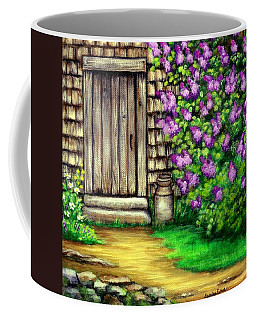 Coffee Mug featuring the painting Lilacs By The Barn by Sandra Estes