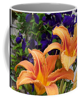Lilies And Clematis Coffee Mug