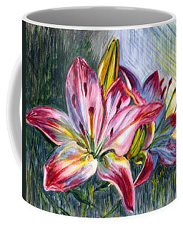Coffee Mug featuring the painting Lilies Twin by Harsh Malik