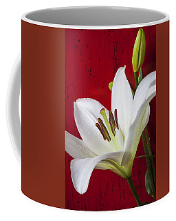Lily Against Red Wall Coffee Mug
