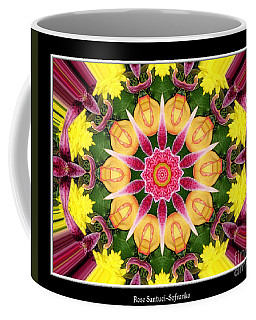 Coffee Mug featuring the photograph Lily And Chrysanthemums Flower Kaleidoscope by Rose Santuci-Sofranko