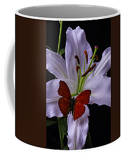 Lily With Red Butterfly Coffee Mug