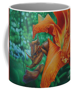 Coffee Mug featuring the painting Lily's Evening by Pamela Clements