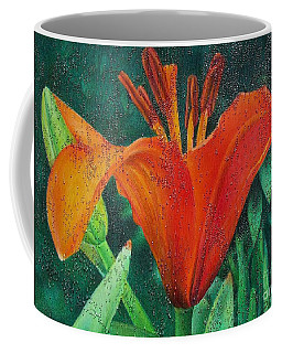 Coffee Mug featuring the painting Lily's Jewels by Pamela Clements