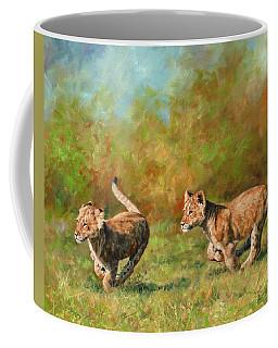 Lion Cubs Running Coffee Mug