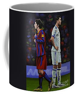 Lionel Messi And Cristiano Ronaldo Coffee Mug by Paul Meijering