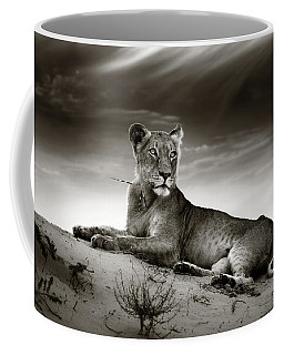 Lioness On Desert Dune Coffee Mug