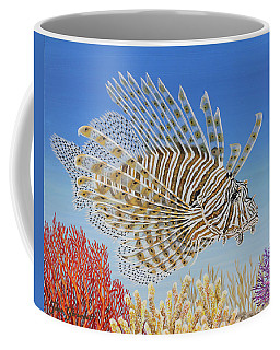 Coffee Mug featuring the painting Lionfish And Coral by Jane Girardot