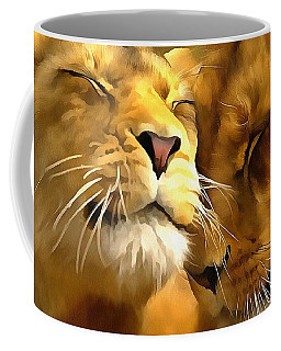 Coffee Mug featuring the painting Lions In Love by Catherine Lott
