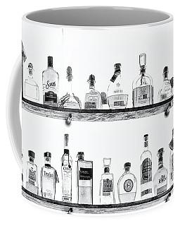 Liquor Bottles - Black And White Coffee Mug
